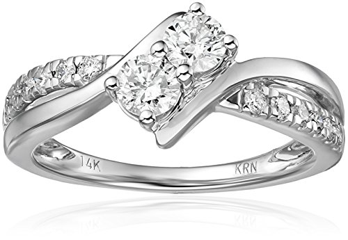 Two Stone Diamond 14k White Gold Ring (3/4cttw, H I Color, I2 Clarity)