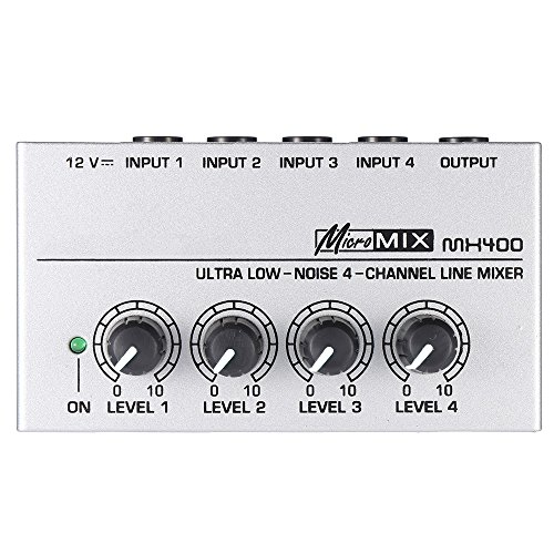 - ammoon MX400 Ultra-compact Low Noise 4 Channels Line Mono Audio Mixer with Power Adapter