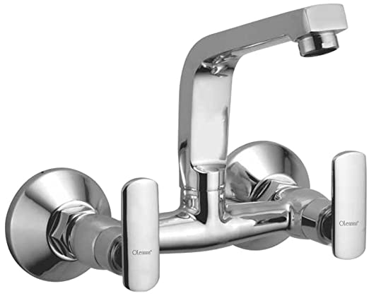 Oleanna Speed Brass Sink Mixer with Swivel Spout Wall Mounted (Disc Fitting | Quarter Turn | Form Flow) Chrome