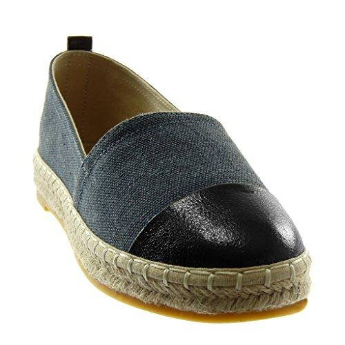 Angkorly Women's Fashion Shoes Espadrilles - Slip-on - Bi Material - Cord - Braided - Shiny Block Heel 2.5 cm Blue U7k0d