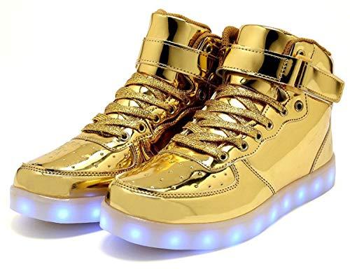 Lampeggiante Luminosi Top Unisex Ricarica Sneakers Sportivet Per Alta Bambini Led Oro Scarpe bambino Usb Moda Adulto wzXgq6KxfE