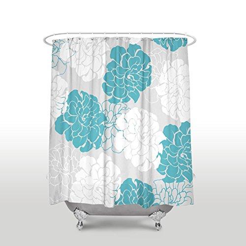 Vandarllin Peony Flower Floral Fabric Extra Long Shower Curtains For BathroomMildew Free Waterproof