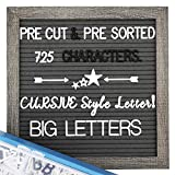 Felt Letter Board with Letters - Pre Cut & Sorted 660 Characters, Gray Letter Board, Message Sign, 10X10 Changeable Letter Boards. (Color: Dark Gray)