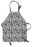 Ambesonne Dalmatian Dog Print Apron, Black and White Puppy Spots Fur Pattern Fun Spotted Pets Animal Desing, Unisex Kitchen Bib Apron with Adjustable Neck for Cooking Baking Gardening, White Black