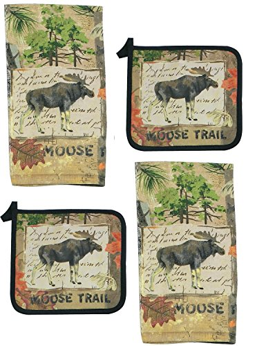 - 4 Piece Wilderness Moose Kitchen Set - 2 Terry Towels and 2 Potholders