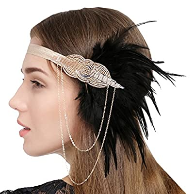 FAYBOX Great Gatsby Feather Flapper Headbands Tassels Beaded Headwear