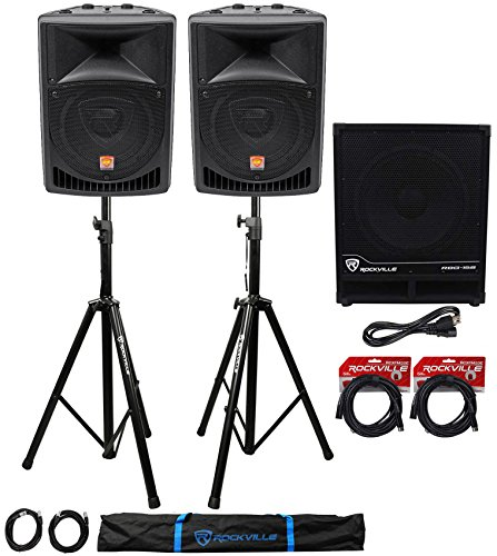 """Rockville RPG8 8"""" Powered PA Speakers+Active 15"""" Subwoofer+"""