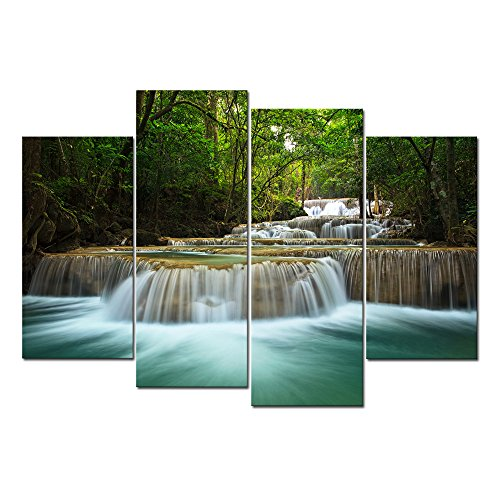 Cao Gen Decor Art-S49038 4 Panels Wall Art HD Waterfall Mountain Scenery Prints Grass Green Forest Natural Landscape Picture Canvas Paintings Spring Background for Home Wall Decor Artwork