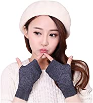 LerBen Cashmere Warm Fingerless Gloves Winter Hand Warmer Mitten