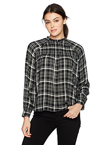 Plaid Wool Leggings (Lucky Brand Women's Plaid High Neck Top, Black/Multi, XS)