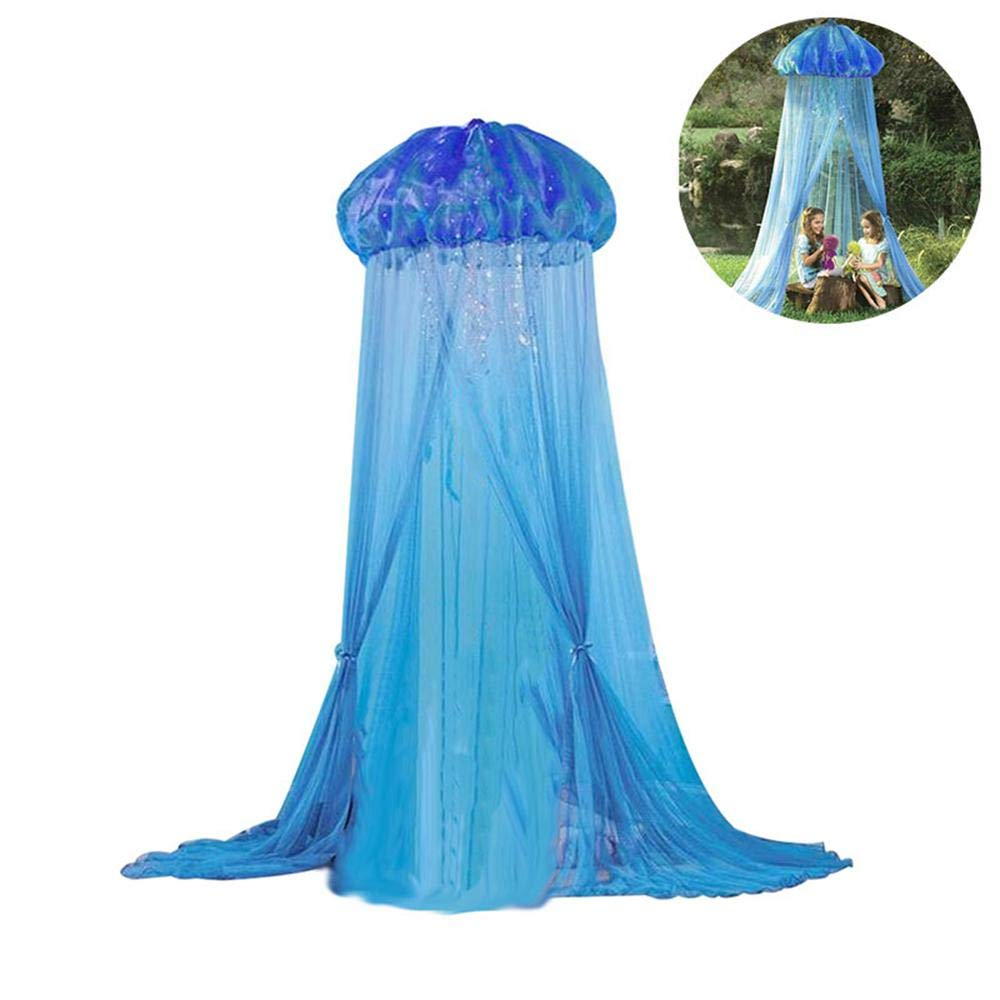 Canopy Mosquito Net, Blue Lace Jellyfish Indoor Canopies Bed Tent - Kids Baby Princess Bed Mosquito Net Summer for Hanging House Decoration Reading Nook (94.5 Inch)