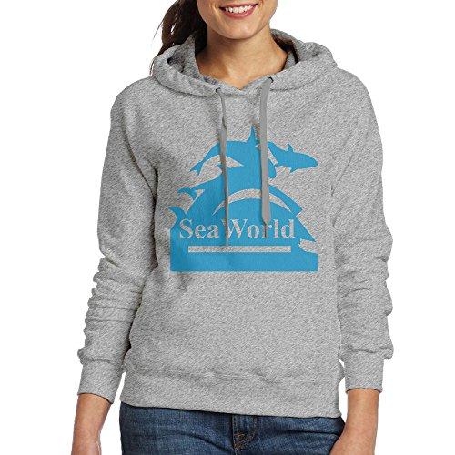 QTHOO Women's Seaworld Logo Long Sleeve Hooded Sweatshirt by QTHOO