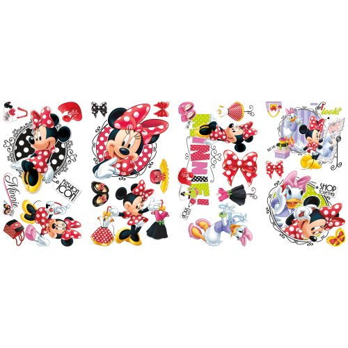 Roommates Rmk2121Scs Mickey And Friends Minnie Loves To Shop Peel And Stick Wall Decals ()