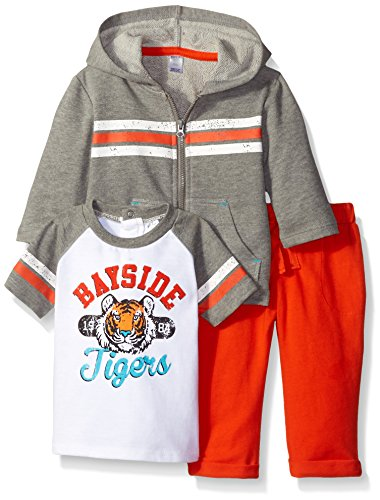 Petit Lem Baby Boys' 3 Piece Set Long Hoodie, Short Sleeve Top and Pant-Grey Mix, Months ()