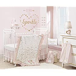 Lambs & Ivy Confetti Heart Girl's 4 Piece Crib Bedding Set, Pink/Gold