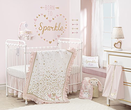(Lambs & Ivy Confetti Heart 4 Piece Crib Bedding Set, Pink/Gold)