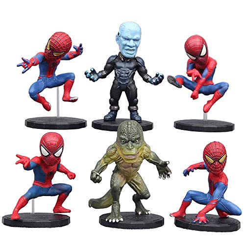 Jianyia 6 Pieces Mini Super Heroes Action Figures Spider-Man and Lizard , Superhero Cake Decoration