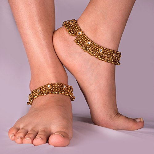 Charms Golden Ethnic Antique Kundan Studded Alloy Anklet by Unknown (Image #3)