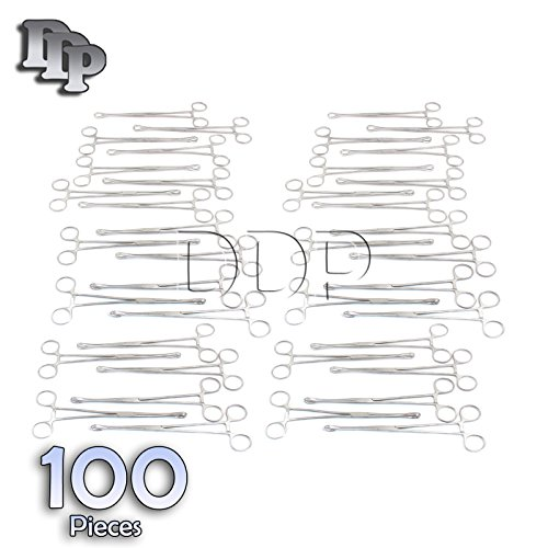 DDP SET OF 100 SELF-LOCKING SPONGE FORCEPS 7'' BODY PIERCING STAINLESS STEEL by DDP (Image #2)