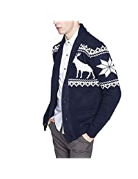 LETSQK Men's Shawl Collar Festive Reindeer Ugly Christmas Sweater Cardigans