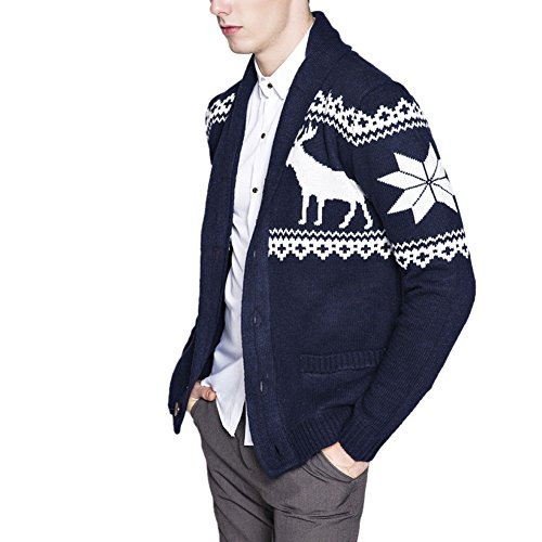 LETSQK Men's Casual Slim Fit Button Knitted Shawl Collar Sweater Cardigans Navy XL