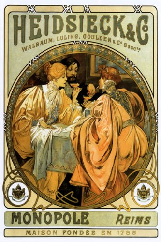 HEIDSIECK MONOPOLE REIMS 1785 DRINKING CHAMPAGNE BY ALPHONSE MUCHA SPECIAL VINTAGE POSTER REPRO ON CANVAS !!!!! ()