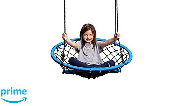 Peachy Jumpoff Jo Little Jos Web Chair Swing Round Rope Net Hammock For Kids And Adults Hang From Tree Porch Swing Set Or Inside Ages 6 Blue Evergreenethics Interior Chair Design Evergreenethicsorg