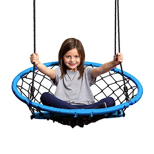 JumpOff Jo – Little Jo's Web Chair Swing – Round Rope Net Hammock for Kids and Adults – Hang from Tree, Porch, Swing Set or Inside – Ages 6+ – Blue