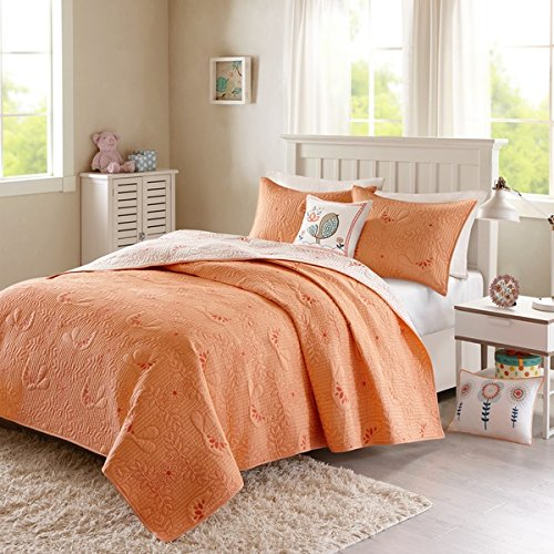 Full Queen 4 Piece Coral Embroidered Animal Pattern Reversible Coverlet Set Attractive Luxurious Beautiful Elegant Bedding Stylish Classic Cozy Warm Fashionable Charming Vibrant Bed Room Addition