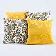 Kit c/ 4 Almofadas Cheias Decorativas Amarelo Florido 04 Peças c/Refil