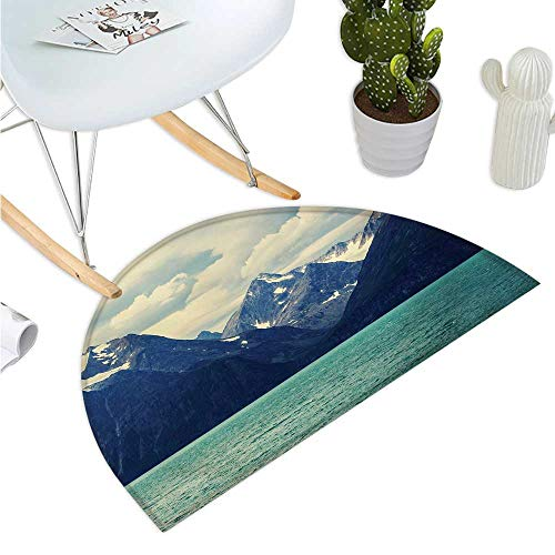 Mountain Half Round Door mats Northern Norway Atlantic Coastline Fishing Harbor Snowy Nature Entry Door Mat H 15.7