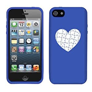 Apple iPhone 4 4s Silicone Soft Rubber Skin Case Cover Heart Puzzle Autism (Blue)