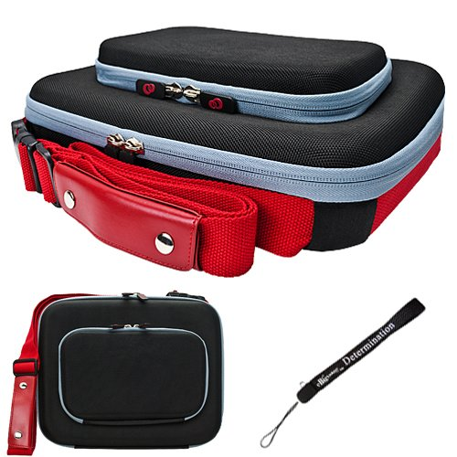 Black Red Ultimate Smart Travel Organizer Hard Nylon Durable Cover Carrying Cube Case For Asus Eee PC 1005HA Netbook Notebook 10.1 inch ()