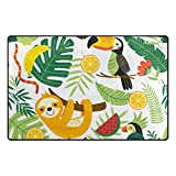 U LIFE Tropical Animals Sloth Cute Birds Banana Large Doormats Area Rug Runner Floor Mat Carpet for Entrance Way Living Room Bedroom Kitchen Office 63 x 48 Inch