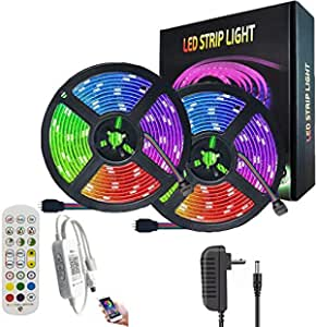 AnneFish LED Strip Light, 10M Smart RGB Rope Lighting, Color Changing APP Remote Control Tape Light, Home Decoration Music Sync Wall Decor Light for Indoor Party Bar Garden (UK plug, Bluetooth)