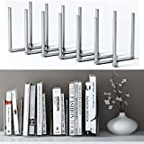 Adjustable Book Holder Bookend 6 Sections Extends up to 23'' Length Stainless Steel Unique Design