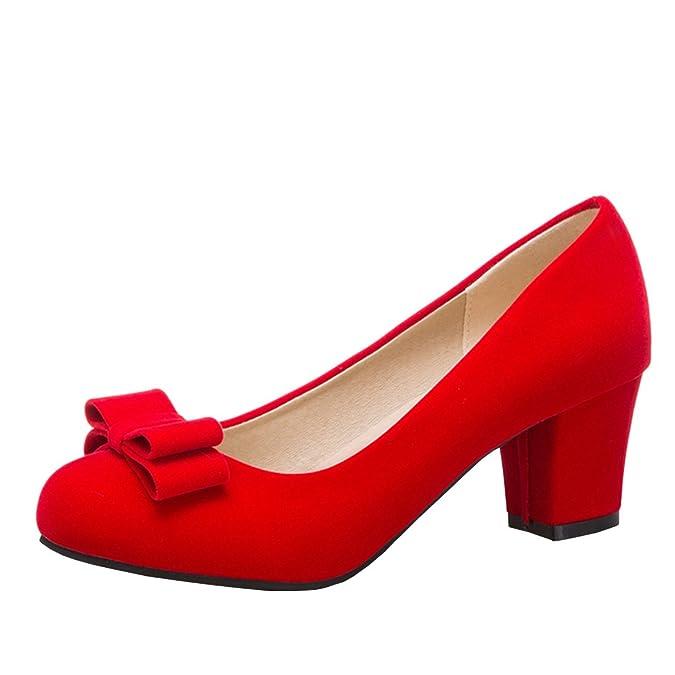 Agodor Damen Blockabsatz High Heels Pumps mit Schleife Nubukleder Elegante Schuhe