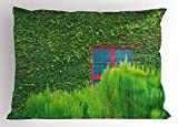 Ambesonne Green Pillow Sham, Red Window on Wooden Wall Covered with Green Vines Bushes Botanical Nature Image, Decorative Standard Queen Size Printed Pillowcase, 30 X 20 inches, Green Red Brown