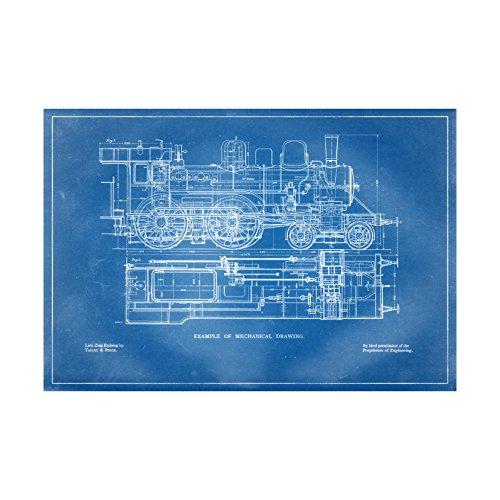 Steam Train Mechanical Drawing - Blueprint Style - Art Print - 26