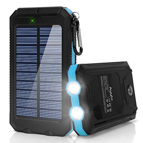 (Ayyie Solar Charger,10000mAh Solar Power Bank Portable External Backup Battery Pack Dual USB Solar Phone Charger with 2LED Light Carabiner and Compass for Your Smartphones (Dark)