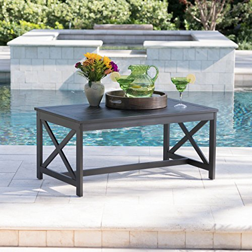 Acacia Black Wood - Ismus Outdoor Black Finished Acacia Wood Coffee Table