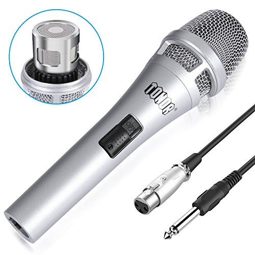 TONOR Microphone Wired Dynamic Vocal Cardioid Handheld Mic with On/Off Switch for Karaoke, Live Vocal, Speech Stage, Performance, Public Speaking, Home KTV Includes 16.5ft XLR to 1/4 Cable, (Cable Cardioid Dynamic Microphones)