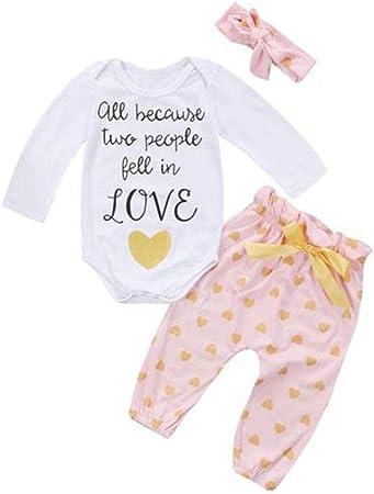 feiXIANG Ropa para bebés niños Primavera y Verano los niños recién Nacidos aman Estampados Tops de Mono + Pantalones Traje de Dos Piezas Mono de bebé ...