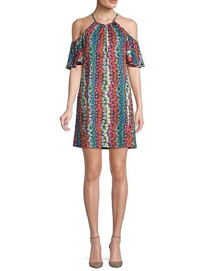 c0c15a67d85 Amazon.com  Trina Turk Viola Cold-Shoulder Floral Print Shift Dress ...
