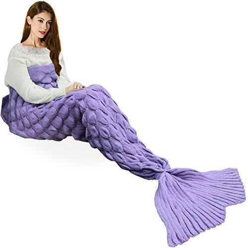 Handmade Knitted Mermaid Tail Blanket , T-tviva All Seasons Warm Crochet Bed Blanket Sofa Quilt Living Room Sleeping Bag for...