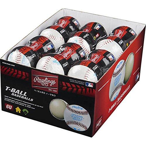 (Rawlings Sponge Rubber Center Synthetic Cover Baseballs, Youth T-Ball, (Box of 24 Balls), TVBSW2-24)