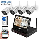 Cheap firstrend Wireless Security Camera System 1080P NVR System with Built-in 10.1″ Monitor and 4pcs 1MP IP Security Camera, 1TB Hard Drive Pre-Installed, P2P Home Security Camera System