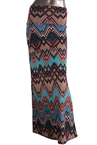 Azules Women's Poly Span Multiple Selection Print Maxi Skirt-made in USA AS IS (Shown On Picture ) L