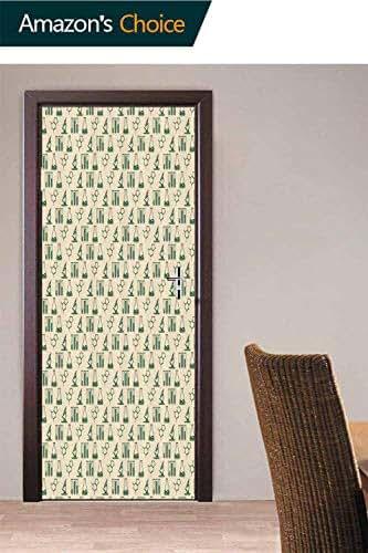 Door Wallpaper Murals, Pharmaceutical Drug Analysis Door Stickers Self Adhesive Vinyl Removable Art Door Decals for Home Decoration, 30.3W x 78.7H Inches