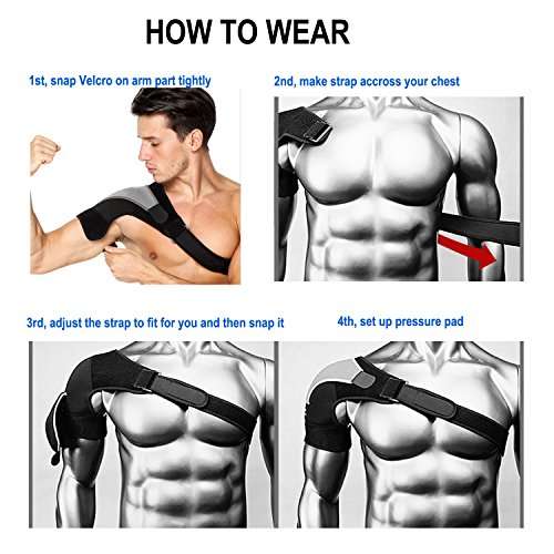 HK Shoulder Stability Brace with Pressure Pad for Women Men Adjustable Rotator Cuff Support by HK (Image #6)